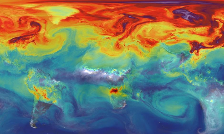 Carbon dioxide in Earth's atmosphere if half of global-warming emissions are not absorbed. Image: NASA