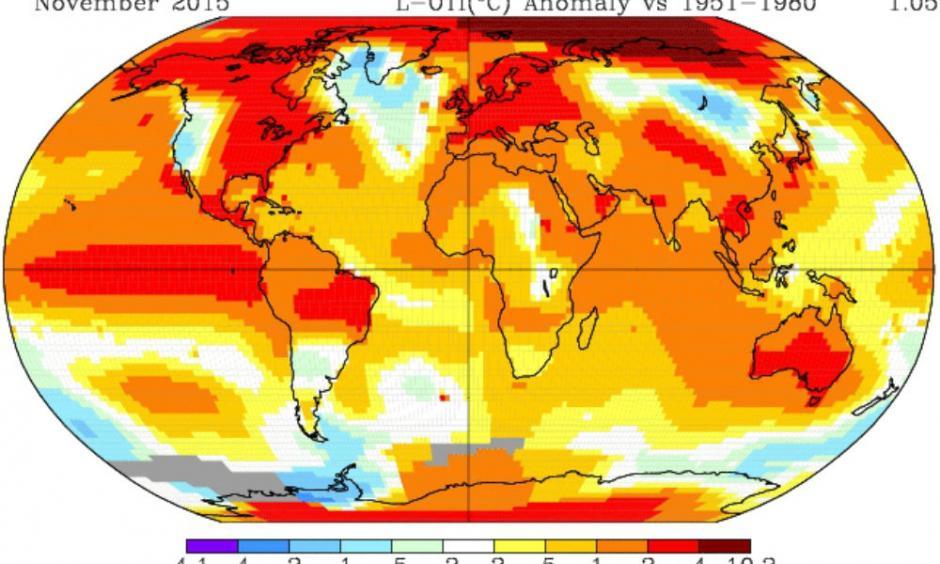 November temperature departures from normal. Credit: NASA GISS