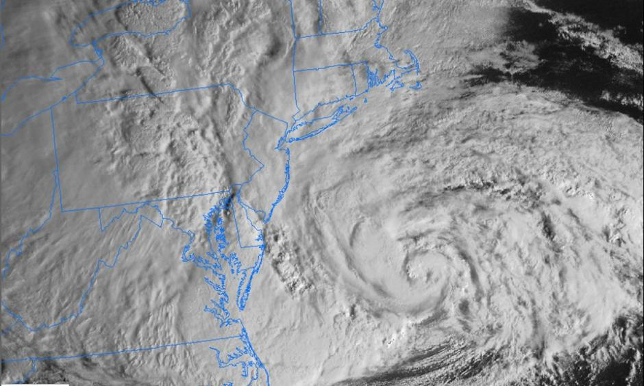 Satellite image of Hurricane Sandy approaching the New Jersey coastline the morning of October 29, 2012. Photo: NOAA