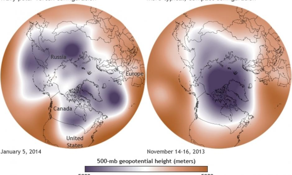 Maps show the 500-millibar geopotential height (the altitude where the air pressure is 500 millibars) on January 5, 2014 (left), and in mid-November 2013 (right). The cold air of the polar vortex is purple, Image: NOAA