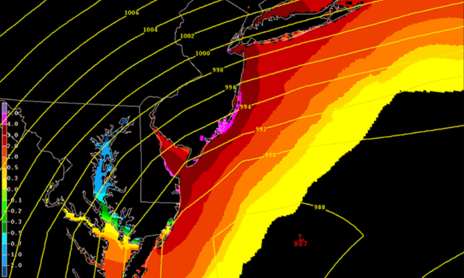 A map shows the forecast storm surge in feet from this weekend's winter storm. Image: NOAA