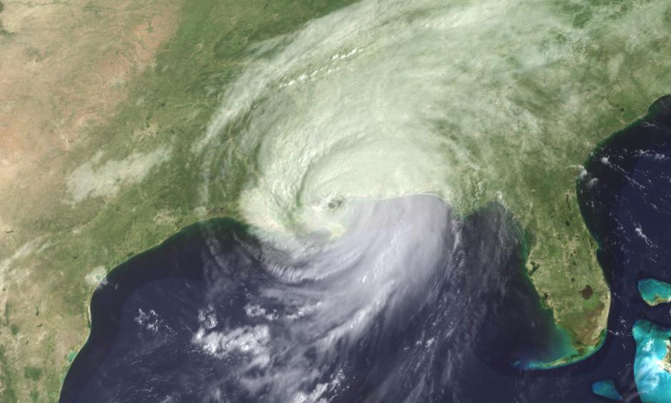 Hurricane Katrina moved ashore over southeast Louisiana and southern Mississippi early on August 29, 2005, as an extremely dangerous Category 4 storm. Photo: GOES Project Science Office