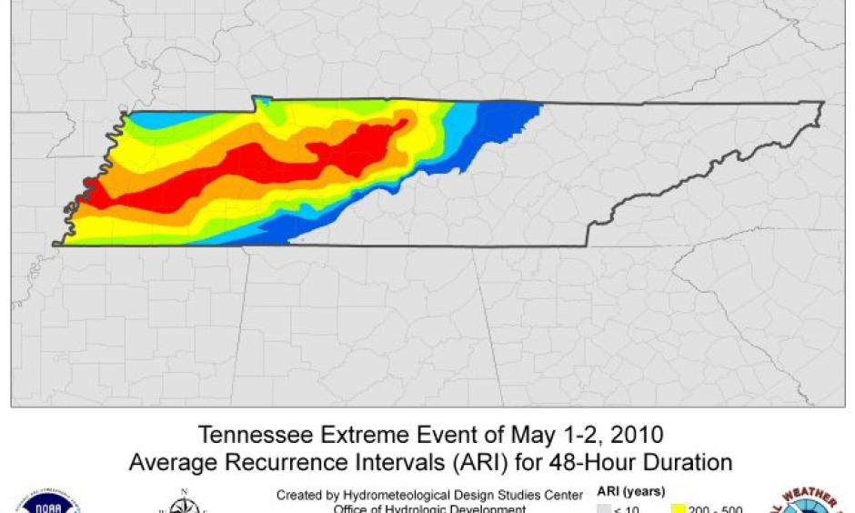 The map relates to amount of rainfall that fell to the chances of that amount of rain actually occurring. Photo: NOAA