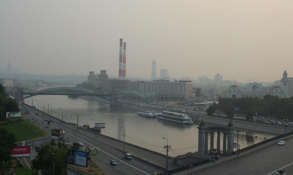 Smoke of the wildfires over Moscow. Photo: A.Savin