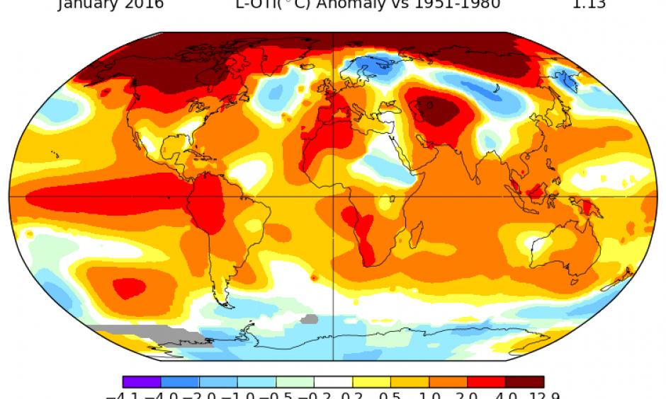 Temperature anomalies for January, 2016. Image: NASA