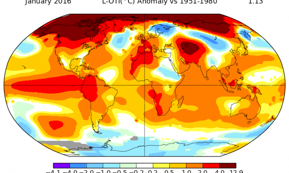 Temperature anomalies for January, 2016. Photo: NASA Goddard Institute for Space Studies