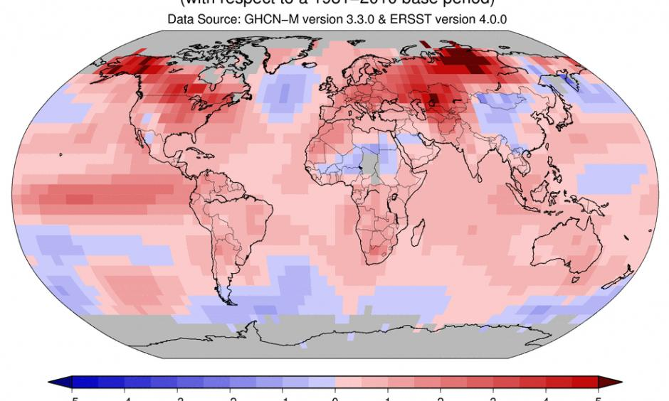 Land and ocean temperature departure from average. Image: NOAA
