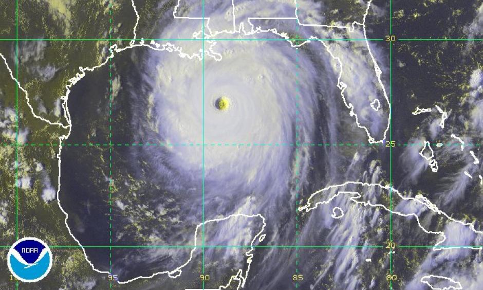 Katrina on August 28, nearing the Gulf Coast. Image: NOAA