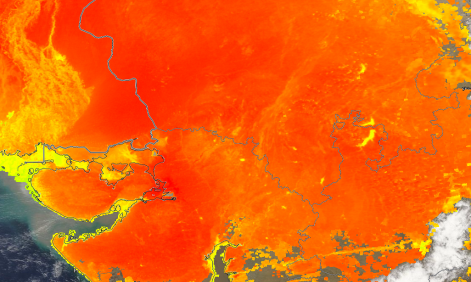 These are ground temperatures measured from the NASA Aqua satellite on Tuesday. They were over 50°C in NW India. Image: AGU Blogosphere
