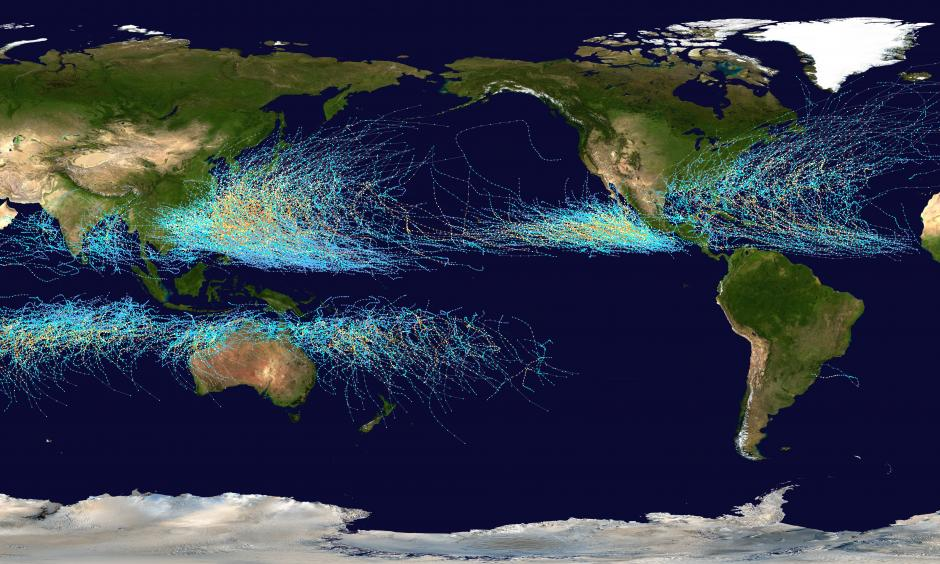 Map of the cumulative tracks of all tropical cyclones during the 1985–2005 time period. The Pacific Ocean west of the International Date Line sees more tropical cyclones than any other basin, while there is almost no activity in the Atlantic Ocean south of the Equator. Background image: NASA this version: Nilfanion