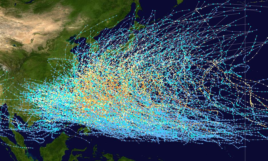 Western Pacific tropical storm paths for the period of 1980-2005. As one can the Philippines is obliterated under all the lines delineating the various tracks. Only the southern portion of Mindanao Island is visible. Image: Wikicommons