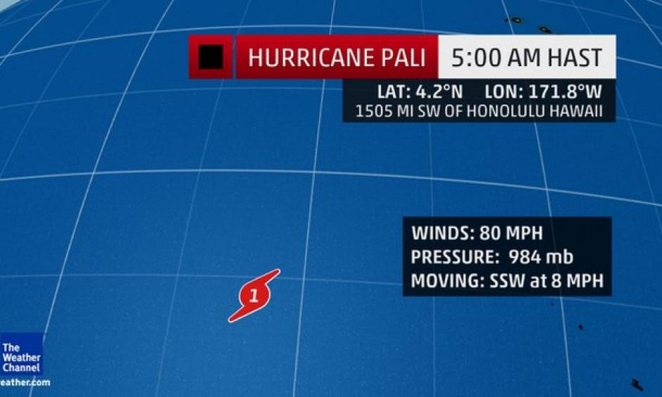 Hurricane Pali was located more than 1,500 miles southwest of Honolulu, Hawaii, Wednesday and will remain no threat to land. The Weather Channel