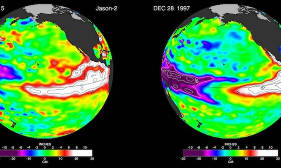 "Sea-surface height as inferred by by NASA satellites during the current El Niño (December 27, 2015, at left, from Jason-2) and at a comparable point during the last ""super"" El Niño (December 28, 1997, at right, from TOPEX/Poseidon)."