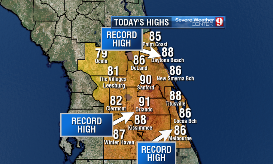 Central Florida experienced some unusually hot temperatures for November. Image: WFTV Severe Weather Center 9
