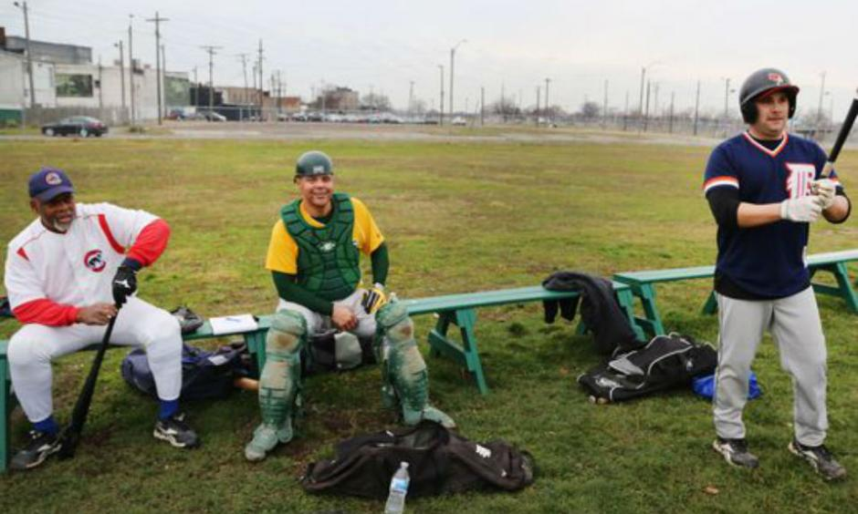 Greg Chastang, left, of Inkster and Greg Wilson, of Detroit , center, and Scott Misuraca of Warren usually participate in baseball with the Men's Senior Baseball League from April-September. They are playing a pick up game at Navin Field Sunday, Dec. 13, 2015 on Michigan Avenue in Detroit. They say this is their first time ever playing baseball in December. (Photo: Regina H.Boone, Detroit Free Press)