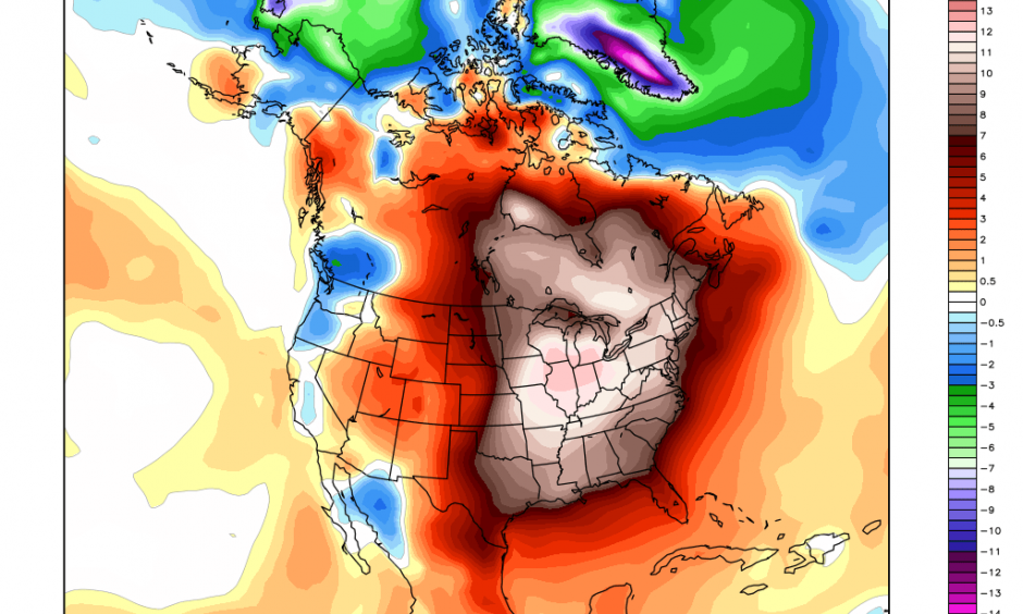 Temperature departures from normal from Dec. 21-26. Credit: Weatherbell