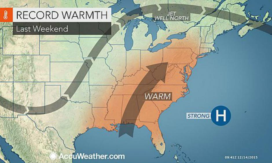 Warmth built across much of the eastern United States this past weekend. Image Credit: AccuWeather