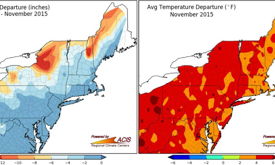 November snow and temperature departures from normal in the Northeast. Image: NERCC