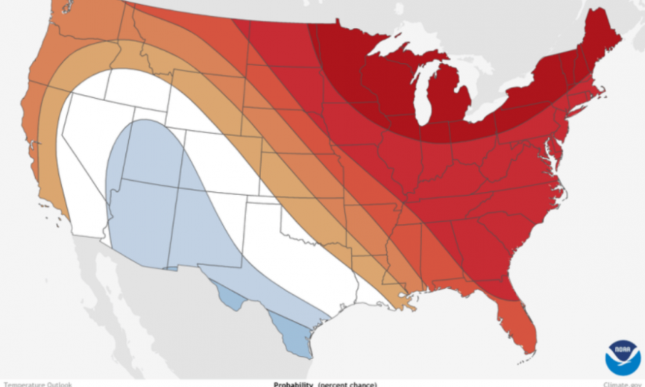 December temperature outlook. Image: NOAA