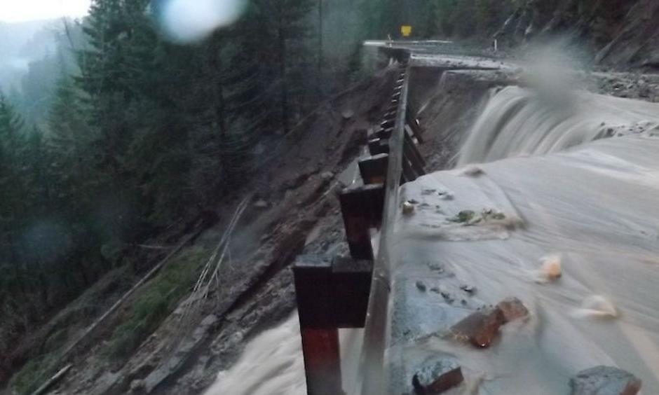 A compromised U.S. Highway 12 west of White Pass, Washington, on Wednesday morning, December 9, 2015. White Pass is located in the Cascades just south of Mount Rainier. A 58-mile stretch of U.S. Highway 12 is now closed between Packwood and Naches. Photo: Washington State Department of Transportation