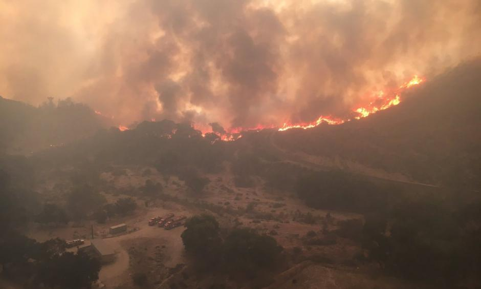 The view from a Los Angeles County Fire Department helicopter over Soledad Canyon. Photo: LACFD Air Operations