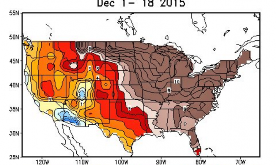December warmth in the monthly temperature anomaly map. Image: NWSCPC