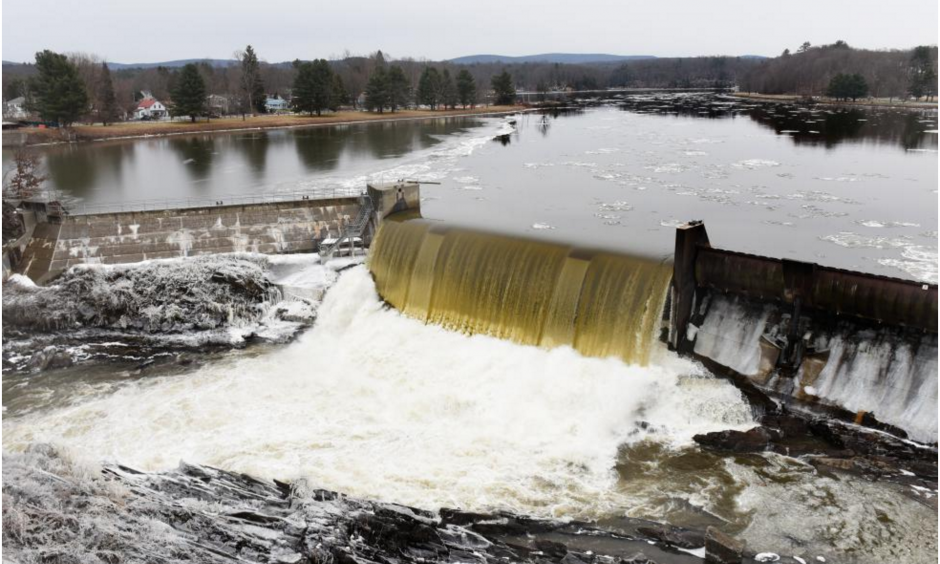 The Connecticut River flows over the Turners Falls Dam on Tuesday. Photo: Paul Franz, Recorder Staff