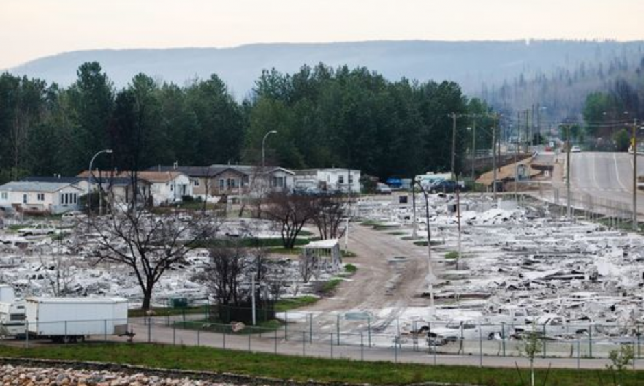 Devastation from the wildfire that tore through the city is seen as residents re-enter fire-ravaged Fort McMurray, Alberta, on Wednesday, June 1, 2016. Photo: Codie Mclachlan, AP