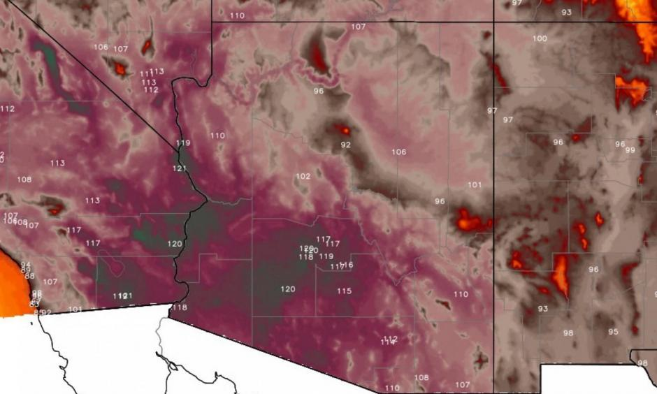 The heat will be excessive in the Southwest starting this weekend. Image: Weatherbell