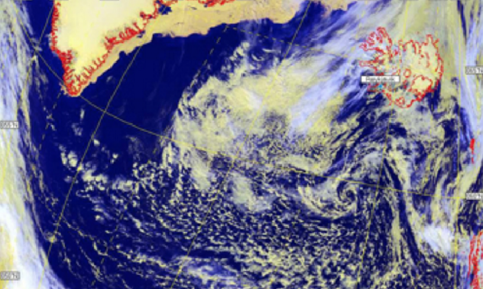 High pressure weather systems over Greenland. Image: University of Plymouth/Helen Nance/Len Wood