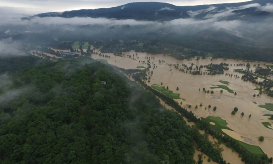 A view of the flooded Greenbrier golf courses on June 24. Photo: Richard Puckett via Terry Deremer, Greenbrier Resort