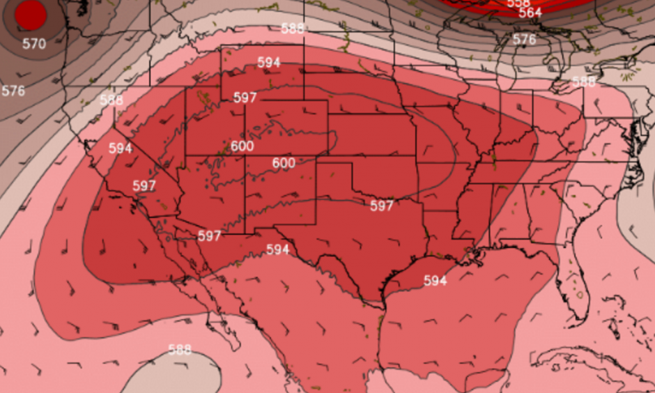 GFS model simulation of massive heat dome centered over the Southwest U.S. on Monday afternoon. Image: WeatherBell.com