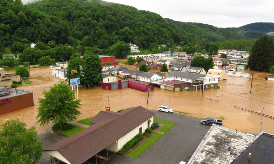 Flooding in Richwood in Nicholas County. Photo: Charleston Gazette-Mail