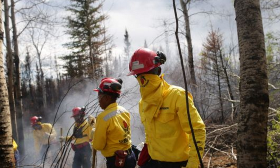 "Firefighters work to uproot a tree as they mop-up hot spots in an area close to Anzac, outside of Fort McMurray, Alberta on June 2, 2016. In early July, the fire was finally declared ""under control."" Photo: Cole Burston, AFP/Getty Images"
