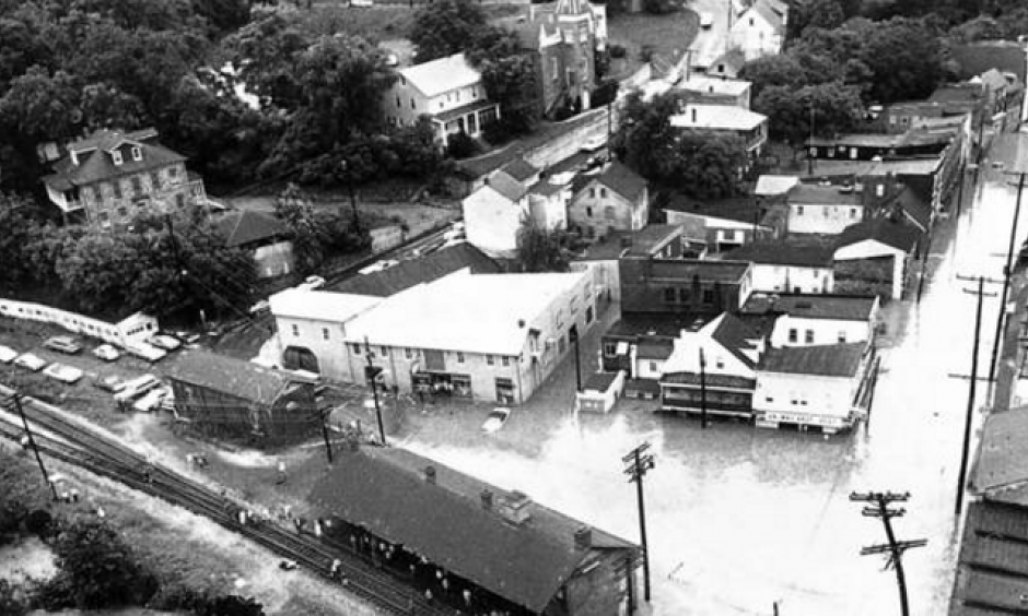 Aerial view of downtown historic Ellicott City the day after Tropical Storm Agnes hit the area in 1972. Photo: Lloyd Pearson, Baltimore Sun