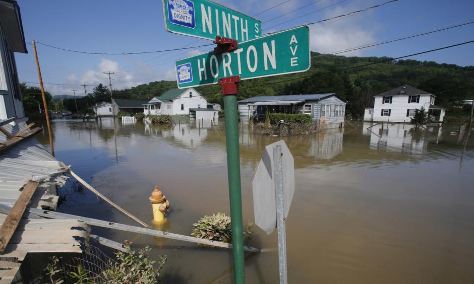 Homes immersed by flooding in Rainelle, W.Va., on June 25. Photo: Steve Helber, AP