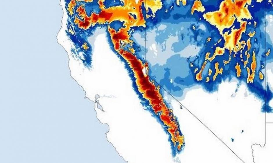 Curious about California's snowfall? Here is a look at snow depth since Oct. 1, 2015. Photo: National Weather Service.