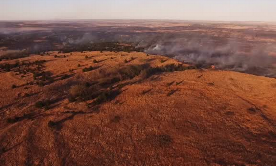 Fires that started March 22 has burned nearly 400,000 acres in southwest Kansas. Photo: Kiowa County Media Center