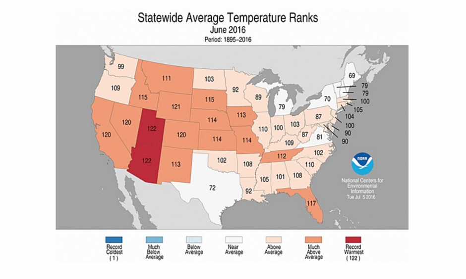 Statewide rankings for average temperature during June 2016, as compared to each June since 1895. Darker shades of orange indicate higher rankings for warmth, with 1 denoting the coldest month on record and 122 the warmest. Image: NOAA / NCEI