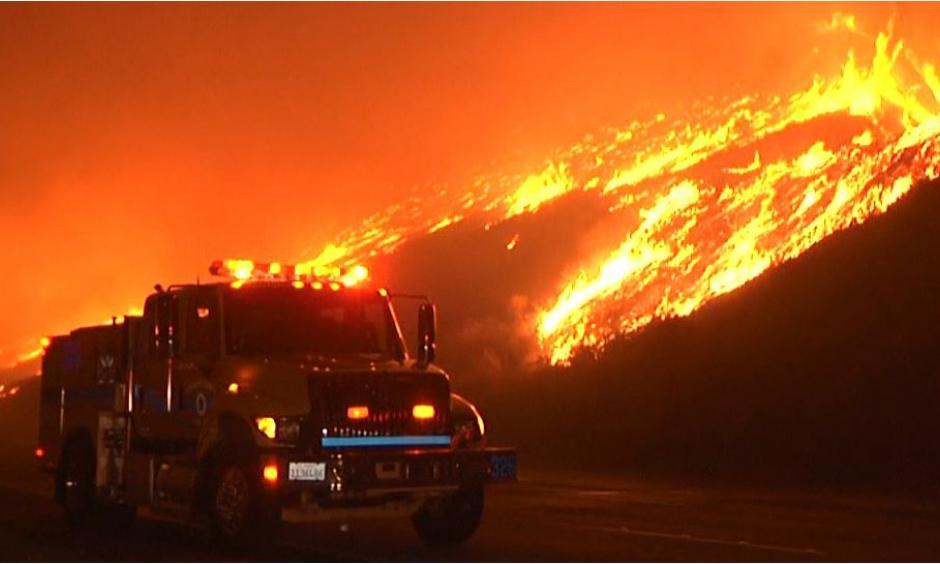 The 900-acre brush fire near Solimar Beach in Ventura County. Photo: OnScene.TV