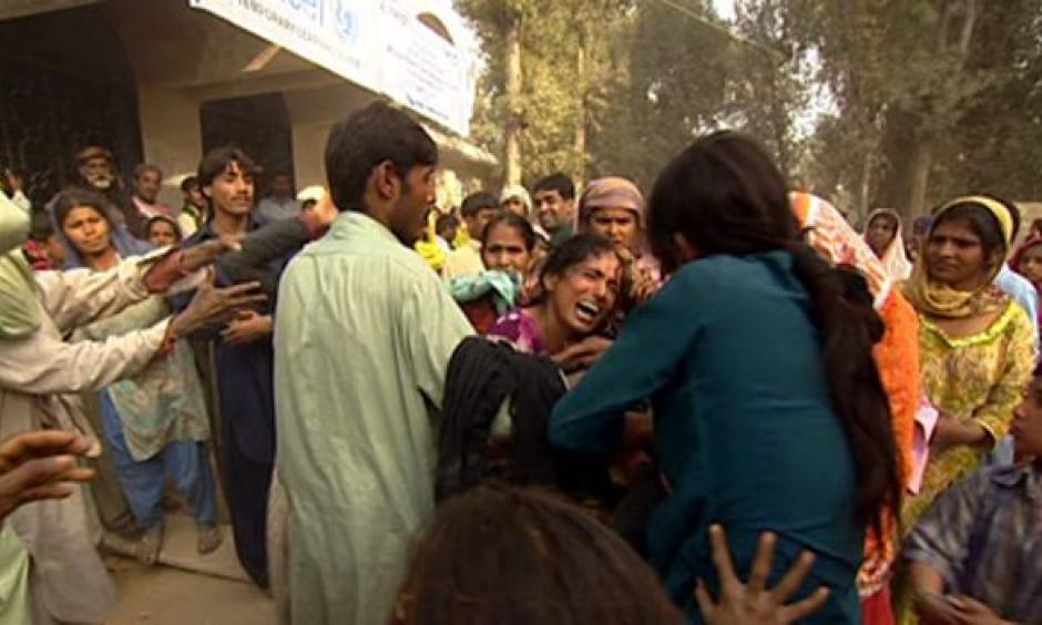 This fight broke out after blankets ran out at a camp for the displaced. Photo: BBC