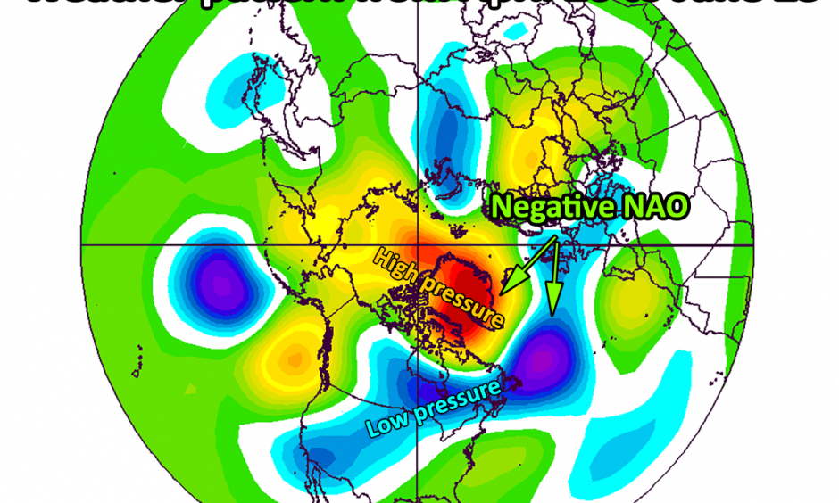 500mb heights compared to normal from April 26 through June 23, encompassing all of the current negative NAO with data. Credit: ESRL/NOAA/author