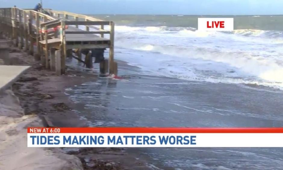 Unrelenting tides continue to pound beaches already damaged by Hurricane Matthew. Photo: WPEC