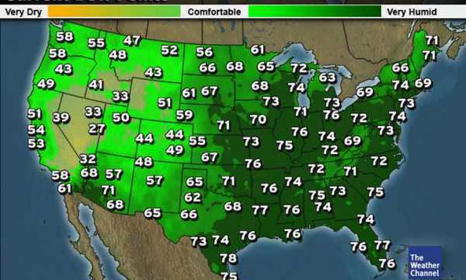 Dew points at noon in the lower forty-eight. Image: The Weather Channel