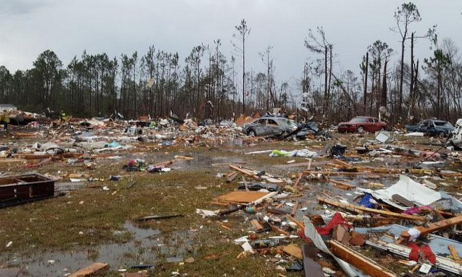Damage to the Sunshine Acres trailer park near Adel, Georgia, caused by a likely tornado. Image: WALB