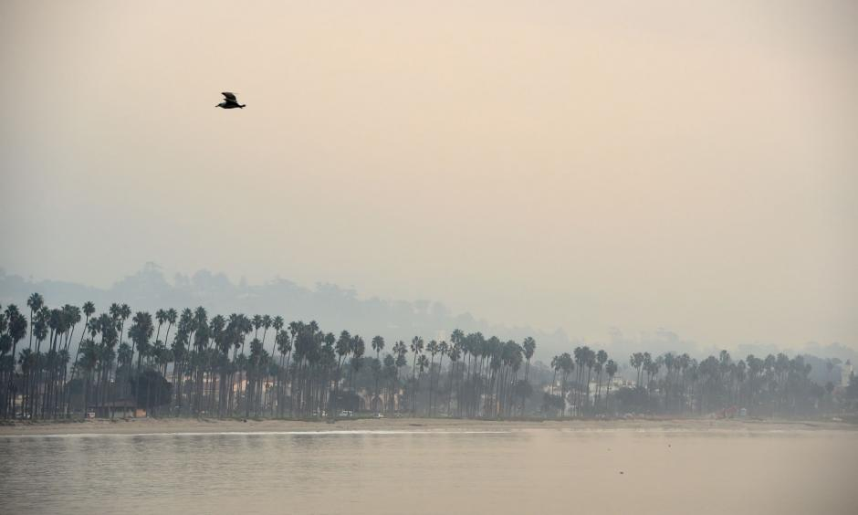 The hills above Santa Barbara, Calif., are shrouded in smoke Dec. 12 from the Thomas Fire. Photo: Robyn Beck, AFP/Getty Images