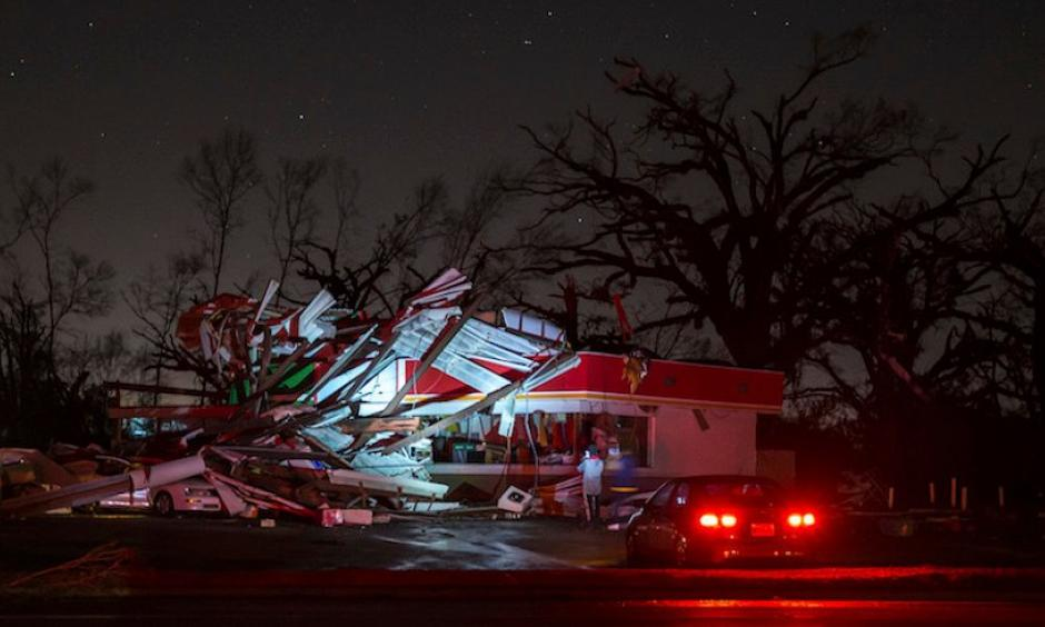 Among the structures damaged by a tornado that moved through Albany, GA, on Sunday, Jan. 22, 2017, was this gas station. Photo: Branden Camp, AP