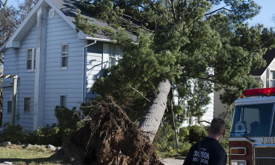 Jackson Fire Department personnel respond to a gas leak after a tree fell on a house in Jackson, Mich., on Wednesday, March 8, 2017. Photo: J. Scott Park, Jackson Citizen Patriot via AP