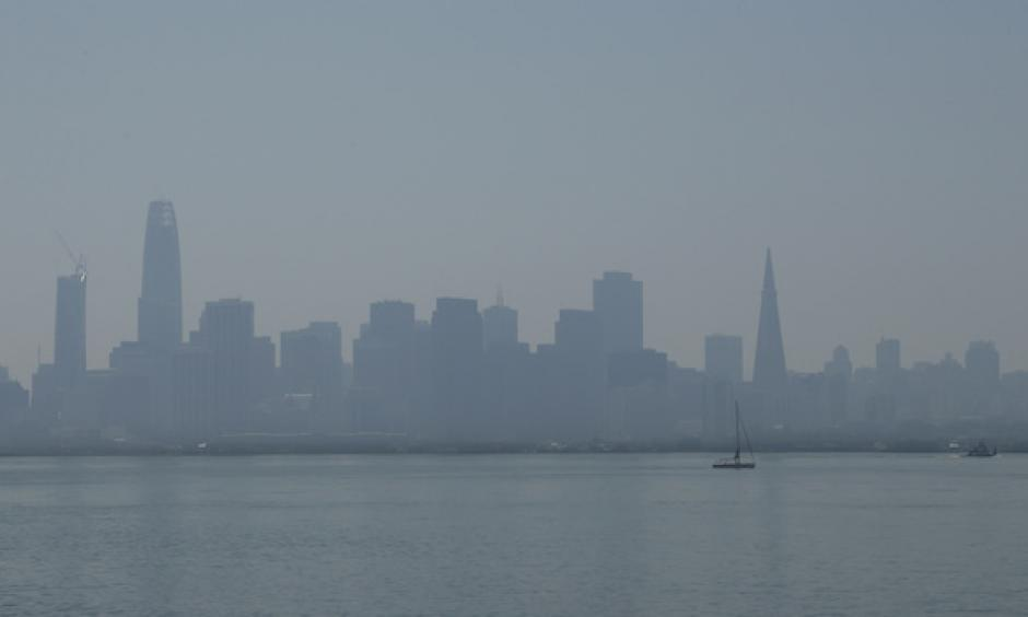 Haze and smoke shrouded the San Francisco skyline on Friday, Sept. 1, 2017, as seen from Treasure Island.  Photo: Ben Margot, AP