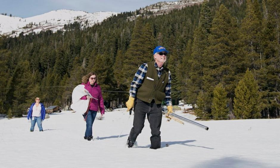 Frank Gehrke (California Department of Water Resources) crosses a snow-covered meadow as he conducts the second snow survey of the season Thursday, Feb. 1, 2018, near Echo Summit, Calif. Accompanying Gehrke are Michelle Mead, left, and Courtney Obergfell, both of the National Weather Service. Photo: Rich Pedroncelli, AP